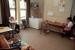 Kitchen / communal area at women's refuge; UK