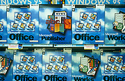 Display boxes at the launch of Microsoft's Windows 95 operating system software, sold at midnight on 23rd August 1995, in Croydon, London, England.