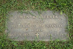 31 August 2017:   Veterans graves in Park Hill Cemetery in eastern McLean County.<br /> <br /> Owen R LaFever  Illinois  Private First Class  Tank Co  38 Infantry  Korea  July 15 1932  June 17 1972