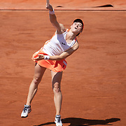 PARIS, FRANCE June 10. Tamara Zidansek of Slovenia in action against Anastasia Pavlyuchenkova of Russia on Court Philippe-Chatrier during the semi finals of the singles competition at the 2021 French Open Tennis Tournament at Roland Garros on June 10th 2021 in Paris, France. (Photo by Tim Clayton/Corbis via Getty Images)