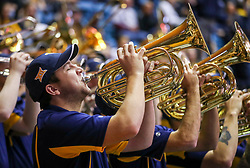 Dec 1, 2018; Morgantown, WV, USA; A member of the West Virginia Mountaineers band plays during halftime against the Youngstown State Penguins at WVU Coliseum. Mandatory Credit: Ben Queen-USA TODAY Sports