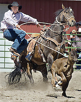Bradly J. Boner / JACKSON HOLE DAILY.Corbin Nicholls of Kinnear, Wyo., goes for the fastest time in the calf roping event during the high school rodeo Sunday at the Teton County Fairgrounds. See this week's Jackson Hole News&Guide for a story and results from local participants.