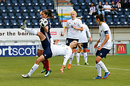 Margarita Yushko (#7) of Belarus clears the ball with a bicycle kick during the FIFA Women's World Cup UEFA Qualifier match between Scotland Women and Belarus Women at Falkirk Stadium, Falkirk, Scotland on 7 June 2018. Picture by Craig Doyle.