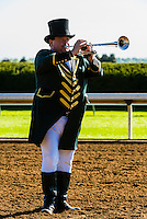Bugler calls beginning of race, Keeneland Racecourse, Lexington, Kentucky USA.