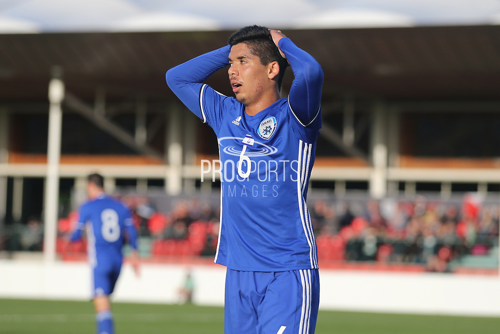 Mohammad Gadir of Israel (6) holds his head after missing achance during the UEFA European Under 17 Championship 2018 match between Israel and Italy at St George's Park National Football Centre, Burton-Upon-Trent, United Kingdom on 10 May 2018. Picture by Mick Haynes.