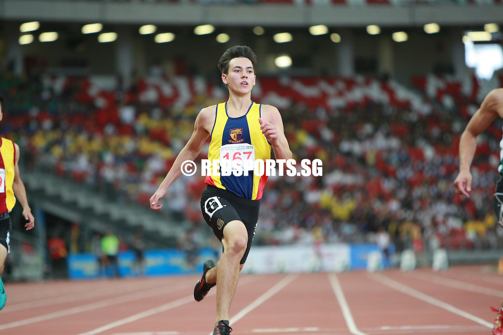 National Stadium, Friday, April 29, 2016 — Joshua Chua of Raffles Institution (RI) blitzed the field at the 57th National Schools Track and Field Championships, setting a new championship record of 10.87 seconds in the B Division Boys' 100 metres final.<br /> <br /> His timing went under the previous electronically-timed mark of 10.90s, set by Singapore Sports School (SSP) alumnus Shahrir Mohd Anuar in 2009.