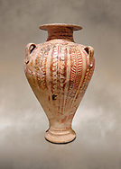 Minoan decorated pithos stirrup jar , Zafer Papoura 1400-1250 BC; Heraklion Archaeological Museum. .<br /> <br /> If you prefer to buy from our ALAMY PHOTO LIBRARY  Collection visit : https://www.alamy.com/portfolio/paul-williams-funkystock/minoan-art-artefacts.html . Type -   Heraklion   - into the LOWER SEARCH WITHIN GALLERY box. Refine search by adding background colour, place, museum etc<br /> <br /> Visit our MINOAN ART PHOTO COLLECTIONS for more photos to download  as wall art prints https://funkystock.photoshelter.com/gallery-collection/Ancient-Minoans-Art-Artefacts-Antiquities-Historic-Places-Pictures-Images-of/C0000ricT2SU_M9w