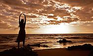 A dancer on a Kihei beach at Sunset.
