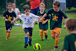 21 September 2013. Carrolton Boosters Soccer. New Orleans, Louisiana. <br /> U8 soccer action. Jesters V Blue Knights.<br /> Photo; Charlie Varley