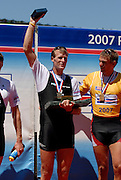 Lucerne, SWITZERLAND,  A Finals,  NZL Mahe DRYSDALE Gold medallist,  on the awards dock, at the 2007 FISA World Cup, Lucerne, on the Rotsee Lake, 15/07/2007  [Mandatory Credit Peter Spurrier/ Intersport Images] , Rowing Course, Lake Rottsee, Lucerne, SWITZERLAND.
