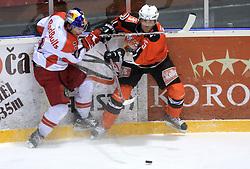 Conny Stromberg (25) and Walter Lee Sweatt (3) at ice hockey match Acroni Jesencie vs EC Red Bull Salzburg in EBEL League,  on November 23, 2008 in Arena Podmezaklja, Jesenice, Slovenia. (Photo by Vid Ponikvar / Sportida)