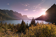 Wild Goose Island at sunset in Glacier National Park, Montana.