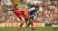 Photo: Aidan Ellis.<br /> Liverpool v Wigan Athletic. The Barclays Premiership. 21/04/2007.<br /> liverpool's Steven Gerrard and Wigan's Josip Skoko