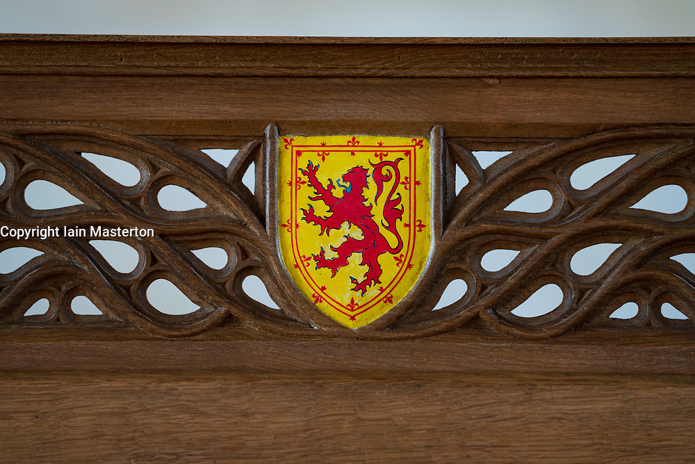 Detail of throne  at Stirling Castle, Stirling, Scotland UK