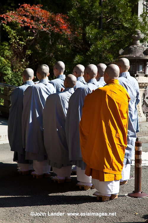 """Many Japanese Buddhist monks make their pilgrimage to Koyasan as well as the many other """"henro"""" or white-clad pilgrims making their way from temple to temple.  Though the most famous trail in Japan is around Shikoku Island's 88 temples, for many pilgrims Koya-san is the final stop."""