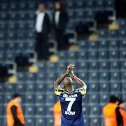 Fenerbahce's Moussa Sow celebrate victory during their Turkish superleague soccer match Fenerbahce between Istanbul Basaksehir at the Sukru Saracaoglu stadium in Istanbul Turkey on Saturday 03 January 2015. Photo by Aykut AKICI/TURKPIX