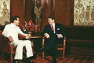 President Reagan meeting with Salvador Laurel  of the Phillippines on May 1, 1986<br />Photo by Dennis Brack