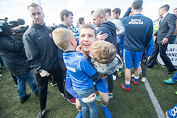 Montrose Jonathan Crawford with family at the end. <br /> Montrose 3 v 1 Brora Rangers, Scottish League Two play-off second leg, today at Links Park, Montrose.