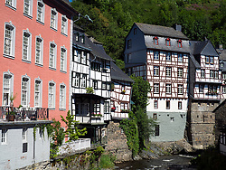 Half-timbered old houses in historic village of Monschau in Eifel Region of Germany