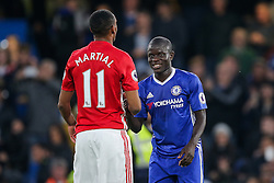 Anthony Martial of Manchester United congratulates goalscorer N'Golo Kante of Chelsea after Chelsea win 4-0 - Rogan Thomson/JMP - 23/10/2016 - FOOTBALL - Stamford Bridge Stadium - London, England - Chelsea v Manchester United - Premier League.