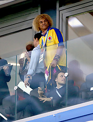 Colombian former football Carlos Valderrama is seen in the stands during the FIFA World Cup 2018, round of 16 match at the Spartak Stadium, Moscow.