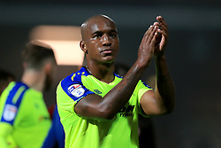 Derby County's Andre Wisdom applauds the travelling support