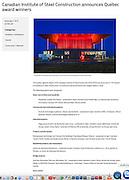 Amphithéâtre Cogéco de Trois-Rivières, prix du jury de l'ICCA (Institut Canadien des Constructions en Acier)  - Architecte concepteur : Paul Laurendeau - Photographie principal © Marc Gibert / adecom.ca