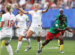 England's Ellen White (centre) celebrates scoring her side's second goal of the game during the FIFA Women's World Cup, round of Sixteen match at State du Hainaut, Valenciennes.