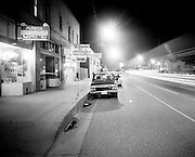 """February 15, 1989-Guadalupe, CA: """"Night-Time On Guadalupe Street""""  was taken in conjunction with Judy Baca and the """"Guadalupe Mural Project"""" sponsored by Santa Barbara County Arts In Public Places Program, El Comite Civco Mexicano, Santa Barbara County Parks Dept.,City of Guadalupe, Guadalupe Chamber of Commerce. Many Thanks to Joe Rodriguez, the Guadalupe Mural Project Team and the people of Guadalupe, CA.  Photo by Rod Rolle"""