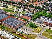 Nederland, Utrecht, Amersfoort, 21–06-2020; voormalige Wagenwerkplaats van de spoorwegen, industrieel erfgoed, nu onder andere creatieve broedplaats. Het hoofdgebouw huisvest onder andere kantoor en atelier van H+N+S Landschapsarchitecten.<br /> Former Railroad Wagon Workplace, industrial heritage.<br /> luchtfoto (toeslag op standaard tarieven);<br /> aerial photo (additional fee required)<br /> copyright © 2020 foto/photo Siebe Swart