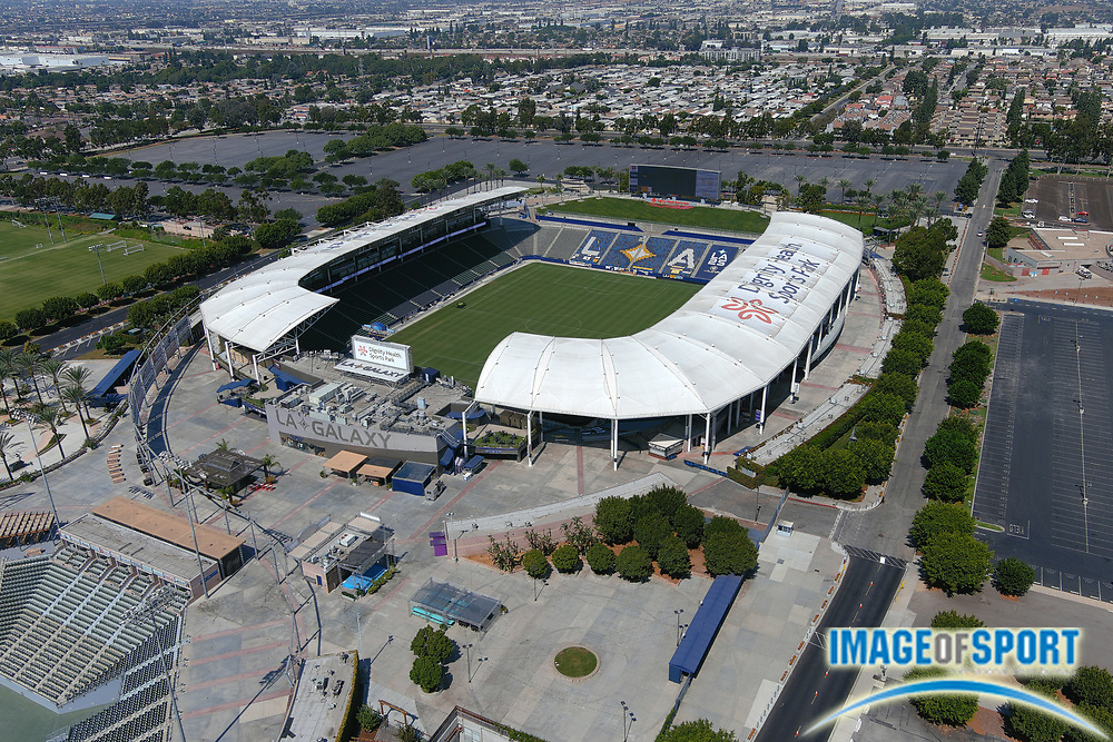 General overall aerial view of the Dignity Health Sports Park soccer stadium, Friday, Sept. 25, 2020, in Carson, Calif. The facility, located on the campus of Cal State Dominguez Hills, opened in 2003 was formerly known as the Home Depot Center (2003-13) and StubHub Center (2013-18), It is the home of the LA Galaxy of the MLS and temporary home of the Los Angeles Chargers from 2017-19.