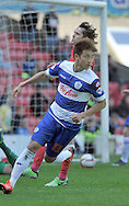 Yun Suk-Young of Queens Park Rangers celebrates his goal against Barnsley during the Sky Bet Championship match at Oakwell, Barnsley<br /> Picture by Graham Crowther/Focus Images Ltd +44 7763 140036<br /> 03/05/2014