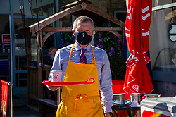 Pictured: <br />Scottish Liberal Democrat Leader Willie Rennielauched his party's manifesto today during a vistb to the Broadwalk Cafe in Edinburgh today.<br />Ger Harley | EEm 16 April 2021