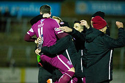 Forfar Athletic's Lewis Moore cele scoring their third goal with the bench. Forfar Athletic 2 v 3 Arbroath, Scottish Football League Division One played 8/12/2018 at Forfar Athletic's home ground, Station Park, Forfar. Arbroath's Bobby Linn cele scoring their third goal with the Arbroath bench. Forfar Athletic 2 v 3 Arbroath, Scottish Football League Division One played 8/12/2018 at Forfar Athletic's home ground, Station Park, Forfar.