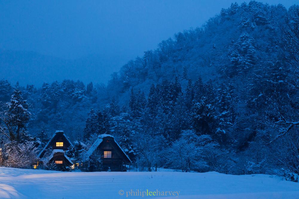 Houses covered in snow in Shirakawa-go, Japan