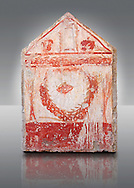 Lucanian fresco tomb painting of a garland of pomegranates . Paestrum, Andriuolo. 3rd Century BC .<br /> <br /> If you prefer to buy from our ALAMY PHOTO LIBRARY  Collection visit : https://www.alamy.com/portfolio/paul-williams-funkystock - Scroll down and type - Paestum Fresco - into LOWER search box. {TIP - Refine search by adding a background colour as well}.<br /> <br /> Visit our ANCIENT GREEKS PHOTO COLLECTIONS for more photos to download or buy as wall art prints https://funkystock.photoshelter.com/gallery-collection/Ancient-Greeks-Art-Artefacts-Antiquities-Historic-Sites/C00004CnMmq_Xllw