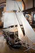 Replica of Lagoda whaling ship with sails and rigging on display in New Bedford Whaling Museum, Massachusetts, USA