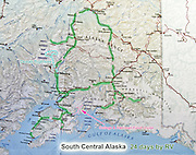 South Central Alaska map, USA, 24 days by RV (Recreational Vehicle) including Anchorage, Denali National Park and Preserve Park Road, Mount McKinley flightseeing from Talkeetna, Parks Highway, Kenai Peninsula, Sterling Highway, College & Harriman Fjords cruise from Whittier, Seward, Homer, Glenn Highway, Richardson Highway, Valdez, McCarthy, Wrangell Mountains, Fairbanks, North Pole.