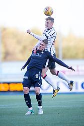 Dunfermline's Dean Shiels over Falkirk's Joseph McKee. Falkirk 1 v 1 Dunfermline, Scottish Championship game played 4/5/2017 at The Falkirk Stadium.