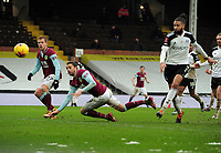 Football - 2020 / 2021 Emirates FA Cup - Round Four - Fulham vs Burnley - Craven Cottage<br /> <br /> Jay Rodriguez of Burnley scores his first half goal with a diving header, past Michael Hector of Fulham<br /> <br /> COLORSPORT/ANDEW COWIE