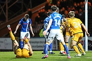 GOAL Matthew Lund scores - Kjell Knops serious injury on floor during the EFL Sky Bet League 1 match between Rochdale and Port Vale at Spotland, Rochdale, England on 28 February 2017. Photo by Daniel Youngs.