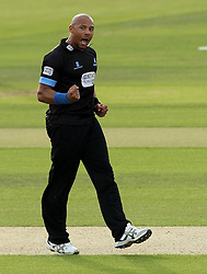 Sussex's Tymal Mills celebrates the wicket of Hampshire's Michael Carberry - Photo mandatory by-line: Robbie Stephenson/JMP - Mobile: 07966 386802 - 19/06/2015 - SPORT - Cricket - Southampton - The Ageas Bowl - Hampshire v Sussex - Natwest T20 Blast
