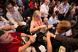 © Licensed to London News Pictures . 24/09/2013 . Brighton , UK . A ballot box is passed through the audience as delegates vote on the morning's discussions . Day 3 of the Labour Party 's annual conference in Brighton . Photo credit : Joel Goodman/LNP