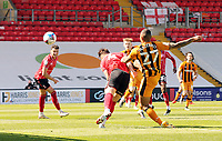 Hull City's Josh Magennis scores the opening goal<br /> <br /> Photographer Rich Linley/CameraSport<br /> <br /> The EFL Sky Bet League One - Lincoln City v Hull City - Saturday 24th April 2021 - LNER Stadium - Lincoln<br /> <br /> World Copyright © 2021 CameraSport. All rights reserved. 43 Linden Ave. Countesthorpe. Leicester. England. LE8 5PG - Tel: +44 (0) 116 277 4147 - admin@camerasport.com - www.camerasport.com