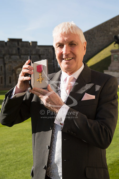 Me Edward Morrison of Whitchurch displays his Most Excellent Order of the British Empire for services to rugby at an investiture ceremony at Windsor Castle, Berkshire. Windsor Castle, Windsor, February 16 2018.