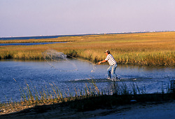 Stock photo of a man casting his net in shallow water near the shore