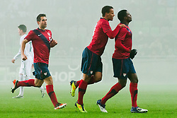 Team USA celebrate goal during friendly football match between National teams of USA and Slovenia, on November 15, 2011 in SRC Stozice, Ljubljana, Slovenia.  USA won 3:2. (Photo By Matic Klansek Velej / Sportida.com)
