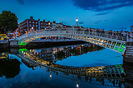 The Ha'penny Bridge, known later for a time as the Penny Ha'penny Bridge, and officially the Liffey Bridge, is a pedestrian bridge built in May 1816 over the River Liffey in Dublin, Ireland
