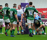 Rugby Union - 2020 / 2021 European Rugby Challenge Cup - Round of 16 - London Irish vs Cardiff - Brentford Community Stadium<br /> <br /> Dacey of Cardiff Blues celebrates his first half try in front of the Irish players<br /> <br /> Credit  COLORSPORT/ANDREW COWIE