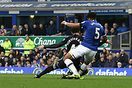 Ashley Williams of Everton tackles his Welsh international teammate Hal Robson-Kanu of West Bromwich Albion. Premier league match, Everton v West Bromwich Albion at Goodison Park in Liverpool, Merseyside on Saturday 11th March 2017.<br /> pic by Chris Stading, Andrew Orchard sports photography.